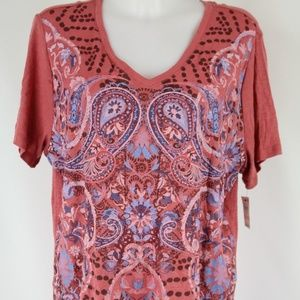 Style&Co Red Short Sleeve Graphic T-Shirt Size 2X